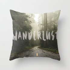Forest Fog WANDERLUST Travel - Wander Redwood National Park Trees in California Wall Tapestry Quote Throw Pillow