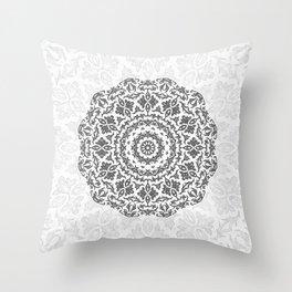 Bohemian Glittering Floral Mandala Throw Pillow