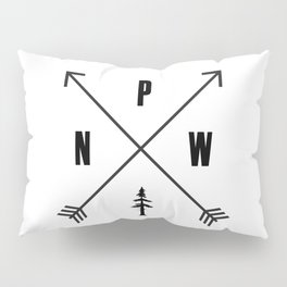 PNW Pacific Northwest Compass - Black and White Forest Pillow Sham