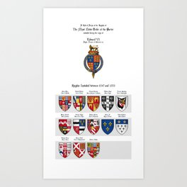 KING EDWARD VI - Roll of arms of the Knights of the Garter installed during his reign Art Print
