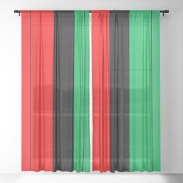 Kwanzaa Red Black Green Stripes Sheer Curtain