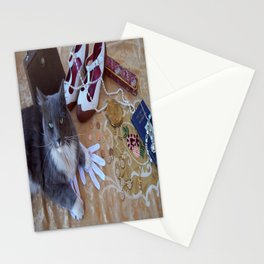 The gold digger with cat Stationery Cards