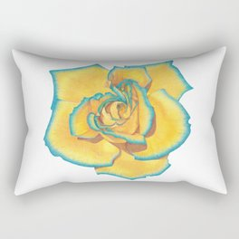 Yellow and Turquoise Rose Rectangular Pillow