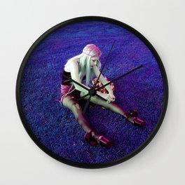 KT in Purple Blades Wall Clock