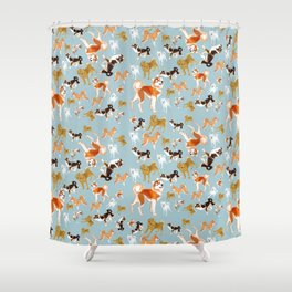 Japanese Dog Breeds Shower Curtain