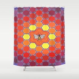 Bee Sacred Geometry Shower Curtain