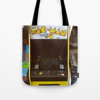 pacman Tote Bags featuring PacMan by Brieana