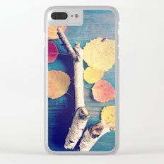 Autumn Birch Leaves and Twigs Clear iPhone Case