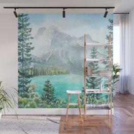 Emerald Lake Watercolor Wall Mural