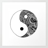 yin yang Art Prints featuring Yin Yang by Jackie Papers