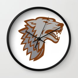 Barking Gray Wolf Icon Wall Clock