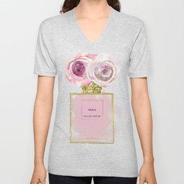 Pink & Gold Floral Fashion Perfume Bottle Unisex V-Neck