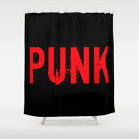 punk rock Shower Curtains featuring PUNK by Silvio Ledbetter