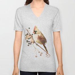 Cardinal Bird and Fall Berries Unisex V-Neck