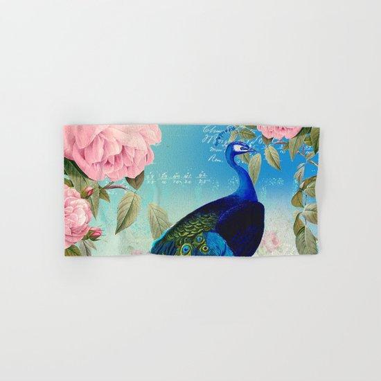 Peacock & Pink Roses  Hand & Bath Towel