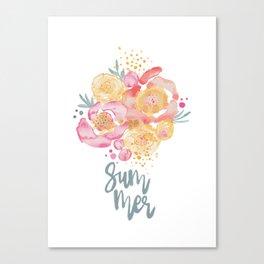 Summer Garden Bouquet - Watercolor Flowers Canvas Print