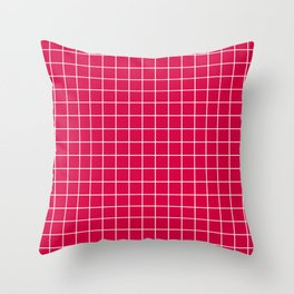 Carmine (M&P) - fuchsia color - White Lines Grid Pattern Throw Pillow