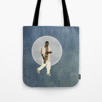 saxophone Tote Bags featuring Saxophone Musician by Aquamarine Studio