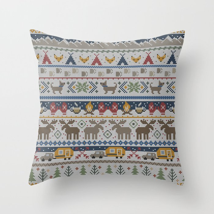 Fair Isle Happy Camper // Winter Wonderland with Woodland Animals Throw Pillow