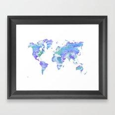 Watercolour World Map (blue/green/purple) Framed Art Print