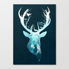 Deer Blue Winter Canvas Print