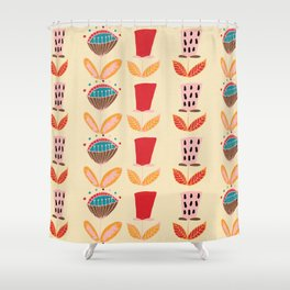 Mid- Century Modern Beige Flowers Pattern Shower Curtain
