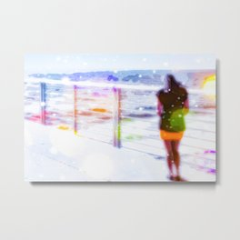 standing alone at the beach with summer bokeh light Metal Print