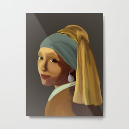 Wearing her Sister's Pearl Earring Metal Print