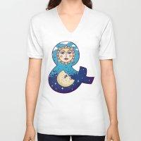 sun and moon V-neck T-shirts featuring sun loves moon by Lidija Paradinović Nagulov - Celandine