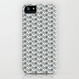 PPG Night Watch Pewter Green Polka Dots and Circles Pattern on White iPhone Case