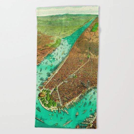 Retro New York Print Beach Towel