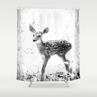 fawn Shower Curtains featuring fawn by 2sweet4words Designs