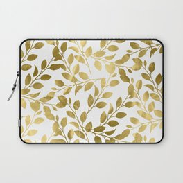 Gold Leaves on White Laptop Sleeve