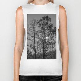 Hiding sun behind black and white trees Biker Tank