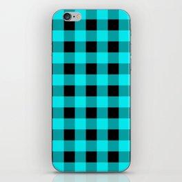 Aqua and Black Buffalo Check iPhone Skin