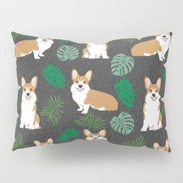 corgi palm monsteras summer dog breed pure breed pets Pillow Sham