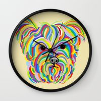 yorkie Wall Clocks featuring Yorkshire Terrier - YORKIE! by EloiseArt