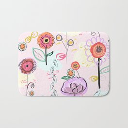 Hand Drawing Abstract Flowers. Pastel Colored Colorful Spring Pattern Bath Mat