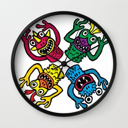 Retro Toy Finger Monsters Wall Clock