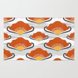 Orange Deco Fans Rug