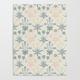 Vintage Floral & Plants Pattern Poster