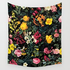 Floral and Birds Pattern Wall Tapestry