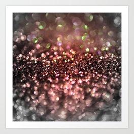 Copper gray and black shiny glitter print - Sparkle Luxury Backdrop Art Print