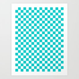 White and Cyan Checkerboard Art Print