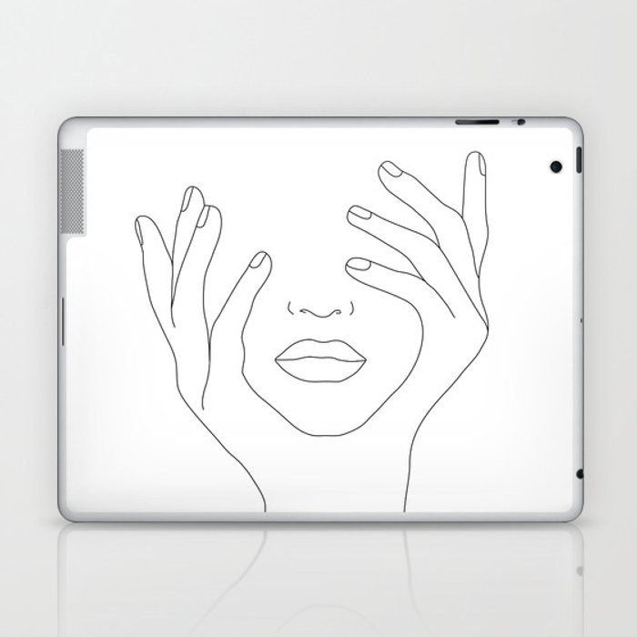 Minimal Line Art Woman with Hands on Face Laptop & iPad Skin