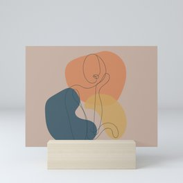 Line Drawing of Woman, Boho Artwork, Female Figure Mini Art Print