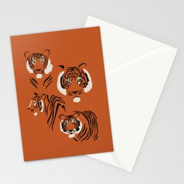 Tigers on Rust Stationery Cards