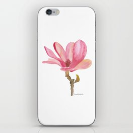 Pink Magnolia Watercolor Floral iPhone Skin