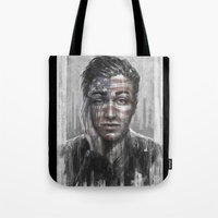 springsteen Tote Bags featuring Shackled and Drawn by Westling