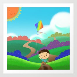 Illustration: A Kid is Running and Flying a Kite in the Colorful Field. Realistic Fantastic Cartoon  Art Print